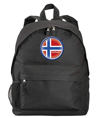 Norwegen-Rucksack, schwarz, mit Flagge und Wappen aus Synthetik, mit Reißverschlusstaschen und Trägern