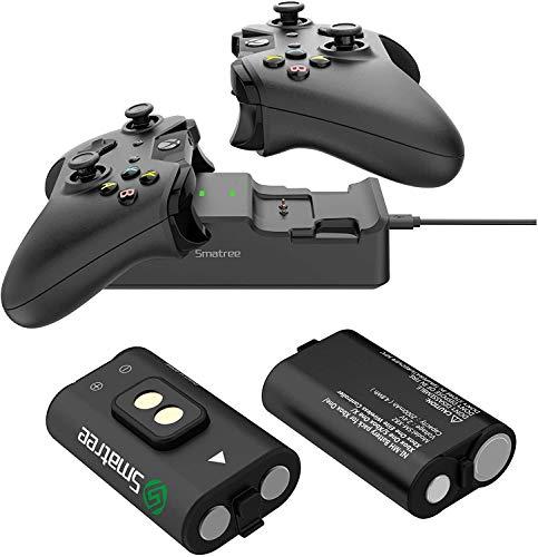 Smatree Caricabatterie Doppia stazione di ricarica con 2 batteria ricaricabile per Xbox Series X/Xbox Series S/Xbox One/Xbox One S/Xbox One X/Xbox One Elite Wireless Controller
