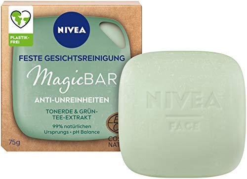 NIVEA MagicBar Feste Gesichtsreinigung Anti-Unreinheiten (75g), Gesichtsreiniger reinigt und mattiert die Haut, zertifizierte Naturkosmetik mit Tonerde & Grün-Tee-Extrakt