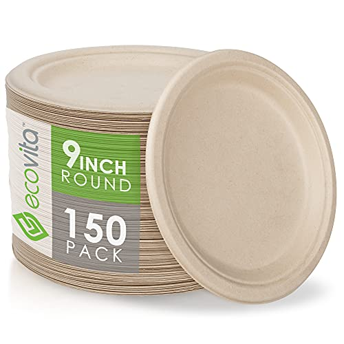 100% Compostable Paper Plates [9 in.] – 150 Disposable Plates Eco Friendly Sturdy Tree Free Liquid and Heat Resistant Alternative to Plastic or Paper Plates by Ecovita