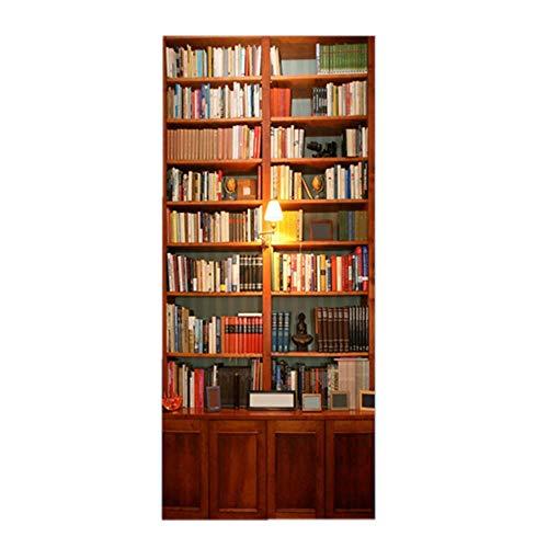 ChuangYing Retro-Tür Aufkleber Europäischen kreative Schlafzimmer Tür Aufkleber 3D dreidimensionale Selbstklebende Bücherwand Aufkleber