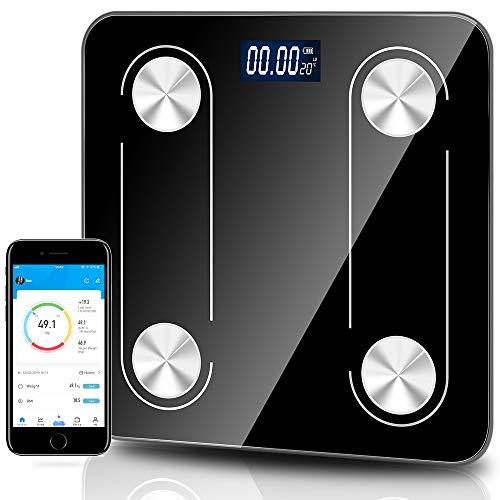 Báscula digital de peso para baño, báscula de grasa corporal inteligente, inalámbrica, con Bluetooth, analizador de monitor BMI, medición de composición corporal, 12 medidas, recargable por USB, aplicación para smartphone
