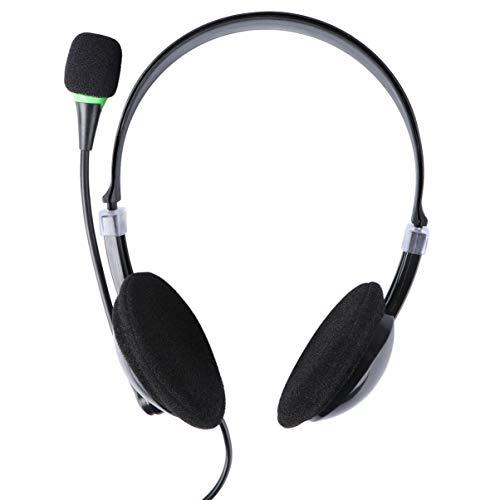 TOYANDONA Fone de ouvido com fio para computador com microfone, escritório, atendimento ao cliente, negócios, jogos, fone de ouvido com cancelamento de ruído 22 x 22 cm, preto