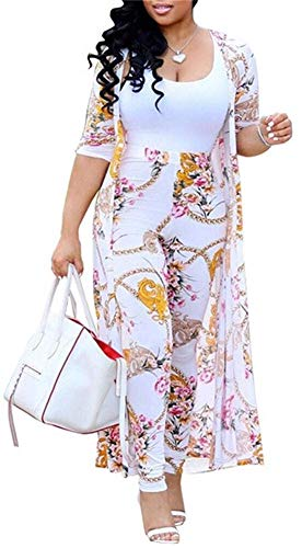 Women's 2 Piece Outfits Stripes Floral Print Open Front Cardigan and Legging Pants Set White
