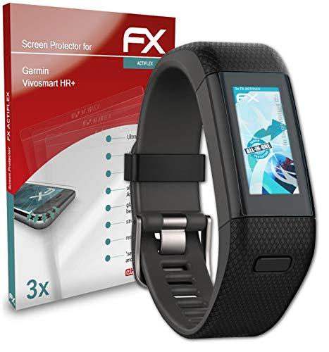 atFoliX Schutzfolie kompatibel mit Garmin Vivosmart HR+ Folie, ultraklare & Flexible FX Bildschirmschutzfolie (3X)