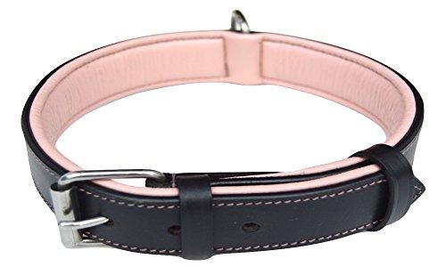 Luxuriöses Hundehalsband aus echtem Leder, zweifarbig, Schwarz und Pink, gepolstert, Größe M, stilvoll, weich, stark und bequem