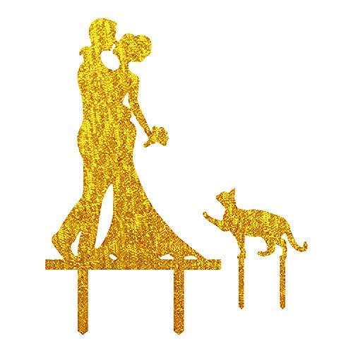 Decoración para tarta de boda de Cheyan con diseño de pareja de novios y gatos, color dorado