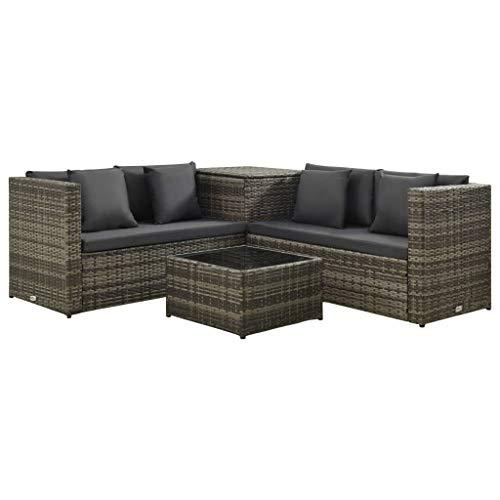 vidaXL Set de Muebles de Jardín 4 Pìezas y Cojines Mobiliario Exterior Terraza Patio Balcón Sofá Mesa Silla Asiento Decoración Ratán Sintético Gris