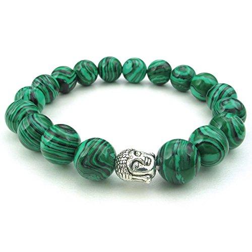 KONOV Schmuck Herren Damen Armband, 10mm Tibetisch Buddhistischen Perlen Gebet Mala Armreif, Natur-Schmuck Stein Malachit Legierung, Grün Silber