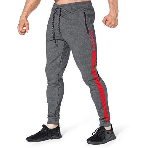 BROKIG スウェットパンツ メンズ 筋トレウェア トレーニングズボン サイドライン ジム ジップ スリム ジョガーパンツ (M, グレー)