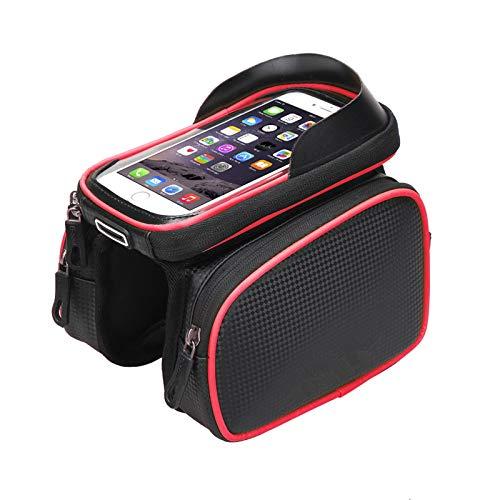 RAILONCH Bolsa para cuadro de bicicleta resistente al agua, para manillar de bicicleta, para pantalla táctil, con orificio para auriculares, adecuada para smartphone de 6,2 pulgadas (rojo)
