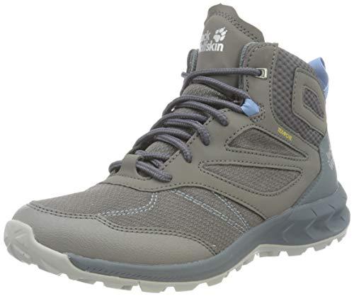 Jack Wolfskin Damen Woodland Texapore Walking-Schuh, Grey/Light Blue, 41 EU