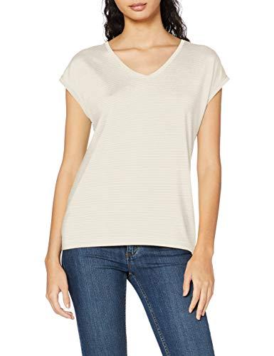 PIECES Damen Pcbillo Tee Lurex Stripes Noos T-Shirt, Weiß (Bright White Detail:Gold), 34 (Herstellergröße: XS)