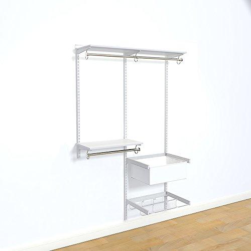 "Organized Living freedomRail Adjustable Closet Organizer Kit, 48""- 52"",White"