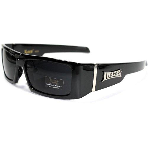 Locs Eyewear LC25 S1 Locs Hardcore Shades Dark 'S Sonnenbrille mit Protective Soft Pouch groß Schwarz
