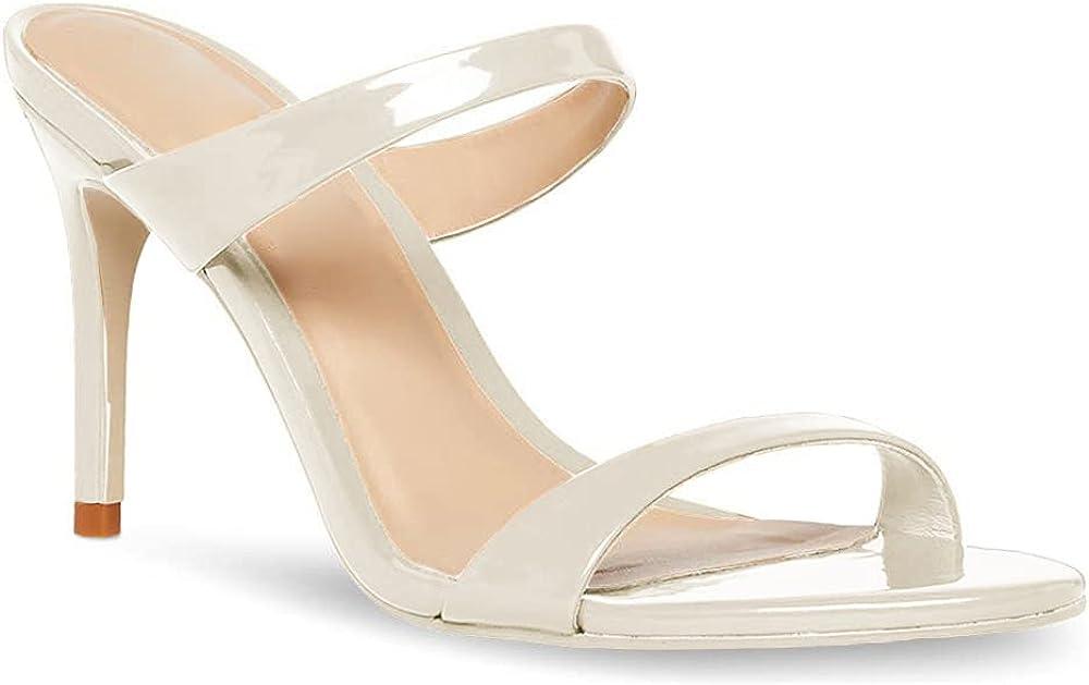 Women's Open Toe Heeled Sandals Slides Slip On Double Strap Stiletto Heel Mule Slippers