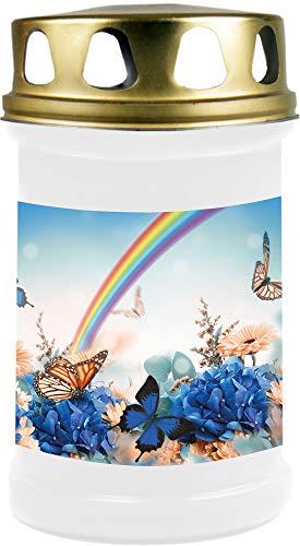 HScandle Grablicht (Weiß) Grabkerze ca. 48h Brenndauer - Motiv: Regenbogen, in vielen Varianten