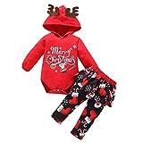 Qiraoxy Traje de Navidad para bebé con capucha y pantalones con cuernos y botas estampadas.