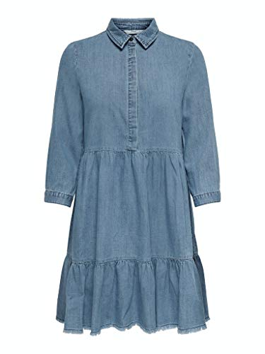 ONLY Womens ONLENYA Life 3/4 Sleeve DNM NOOS Casual Dress, Medium Blue Denim, 38