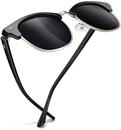 Joopin Gafas de sol Polarizadas Hombre y Mujer Retro Clásico Medio Marco Gafas de sol Unisex Adulto Protección UV400 (Brillante marco negro)