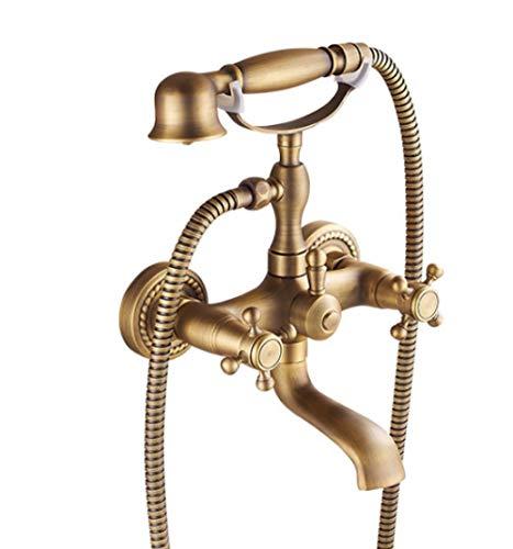 Dual Knobs Mixer Tap Wall Mounted Bath Shower Set Swivel Tub Spout Bath Shower Antique Brass Golden Bathtub Shower Faucets Set