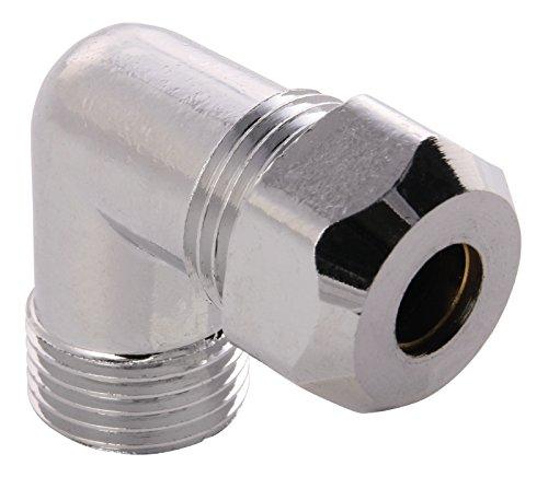 Winkel-Quetschverschraubung | 90 Grad Winkel | 1/2 Zoll x 10 mm | Quetschverschraubung | Für Kupfer-Rohre | Anschluss von Armaturen | Verchromt