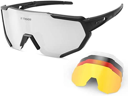 X TIGER Polarized Sports Sunglasses with 5 Interchangeable Lenses Mens Womens Cycling Bike Glasses product image