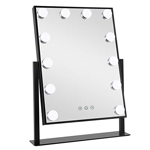 Meidom Hollywood Makeup Mirror with 3 Color Modes Dimmable 12 LED Bulbs and Touch Control 360° Rotating Cosmetic Vanity Mirror for Makeup Dressing Tabletop, Bedroom - Black