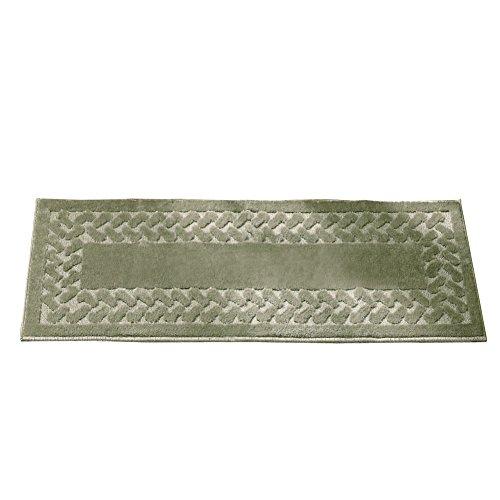 Herringbone Trim Solid Colored Skid-Resistant Decretive Accent Rugs, Sage, Octagon