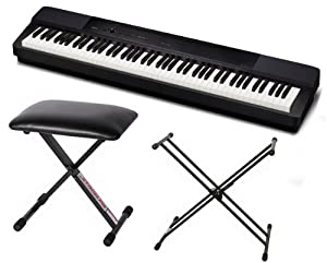 Casio Privia PX-350 Digital Piano (Black) Bundle with Stageline KB40 Piano Bench and Stageline X-Style Double Braced Piano Stand