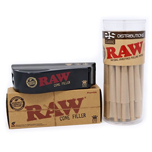 RAW Classic King Size Pre-Rolled Cones with Filter Tips - Bundle (50 Pack with Cone Filler)