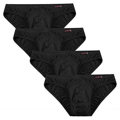 Avidlove Herren Unterwäsche 4er Pack, Slips Micro Modal - seidenweich Unterhose, 4 X Schwarz, XXL