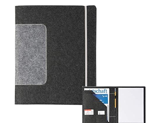 Schreibmappe 'uni' A4 aus Filz (dunkelgrau, Farbe wählbar)   Konferenz-Mappe für Block, Dokumente, Blätter, Visitenkarten, Stifthalter