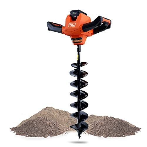 """SuperHandy Earth Auger Power Head w/Steel 6""""x30"""" Bit Ultra Duty Eco-Friendly Electric Cordless Lithium-Ion Battery & Charger for Earth Burrowing/Drilling & Post Hole Digging (Earth Auger 6"""" Set)"""