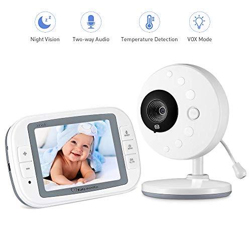 """Vigilabebés Inalámbrico Cámara Vigilancia Bebe con LCD 3.5"""", Bebe monitor Inteligente con Cámara Visión Nocturna, Sensor de Temperatura y Intercomunicador Bidireccional"""