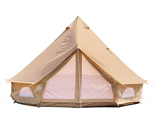 DANCHEL OUTDOOR 5M Large Cotton Canvas Bell Tent with Two Stove Jacket for Glamping (Top and Wall),16.4ft