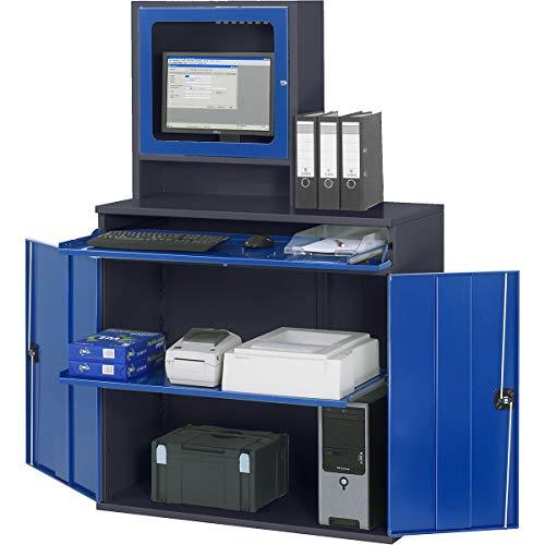 RAU Computer-Arbeitsstation - Monitorgehäuse, 1 Ausziehboden, anthrazit/enzianblau - PC-Arbeitsplatzsysteme EDV-Schränke PC-Stationen Arbeitsstationen PC-Schränke Computerschränke Workstations