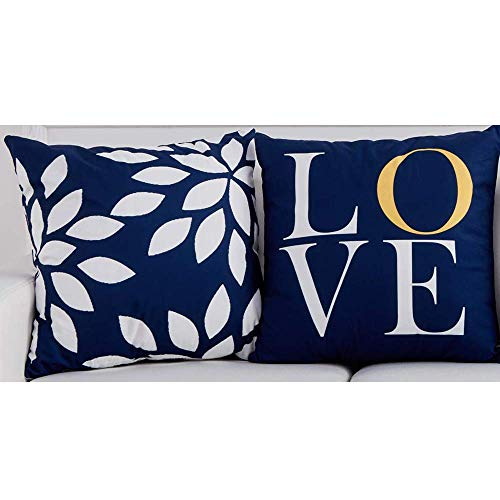 BJYHIYH Navy Blue Throw Pillow Covers 18'x18'Soft Polyester Decorative Pillow Covers for Couch Bed Pillowcases Set of 2
