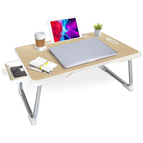 Lap Desk, Portable Laptop Bed Tray with Storage Drawer Cup Holder Device Ledge, Foldable Legs for Breakfast Reading Working Writing Drawing on Bed Couch Sofa Floor Kids (Burlywood)