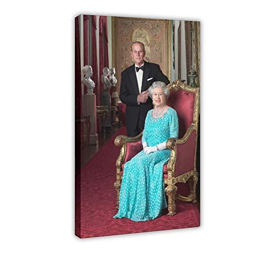 Póster de la reina Isabel II, príncipe Felipe, arte pop, 6 lienzos para decoración de pared, cuadros para sala de estar, dormitorio, decoración de marcos, estilo 120 x 30 pulgadas (50 x 75 cm)