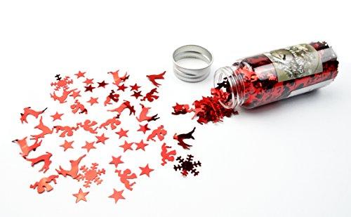 Dekoglitter mit verschiedenen Motiven in 3 Farben zum wählen, Weihnachtsdeko Tischdeko (rot)