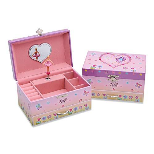 Lucy Locket Schmuckkkästchen mit Spieluhr und Fee für Kinder – Rosa Schmuckschatulle mit Glitzer und Ringfächern