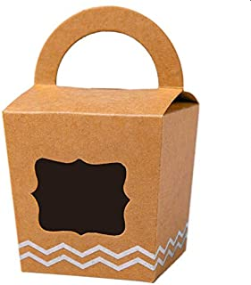 [24pcs] ONE MORE Single Small Mini Cupcake Boxes Individual Containers With Handle and PVC Window,Disposable Kraft Paper Cupcake Holders (Brown,24)
