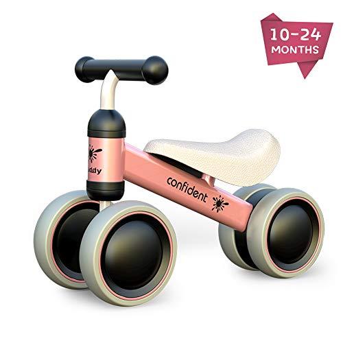 XIAPIA Kinder Laufrad Spielzeug für 10 - 24 Monate Baby, Lauflernrad mit 4 Räder, Erst Rutschrad Fahrrad für Jungen/Mädchen als Geschenke für 1 Jahr Alt (Pink)