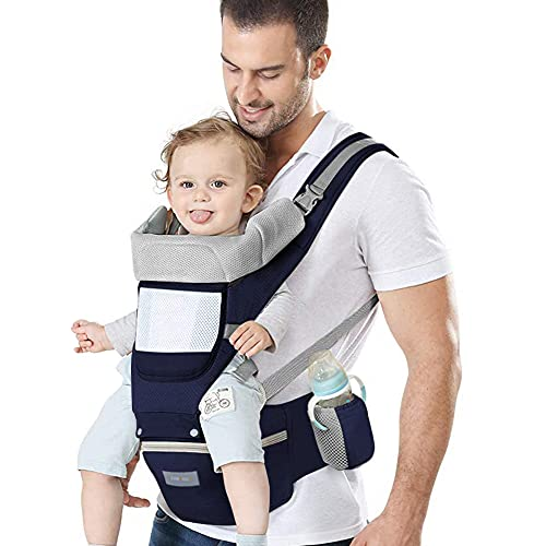 Azeekoom Babytrage Ergonomische, Kindertrage mit Hüftsitz Kopfstütze und Kapuze Leichte, Atmungsaktive, Reine Baumwolle für Babys und Kinder von 0-36 Monaten (weniger als 25 kg)