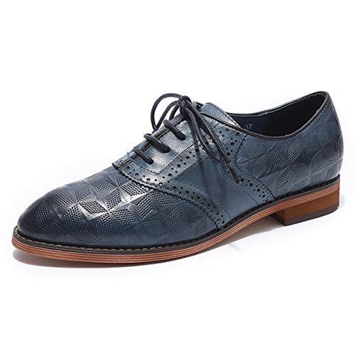 MIKCON Women's Leather Lace up Oxfords Wingtip Brogue Flats Saddle Shoes for Girls