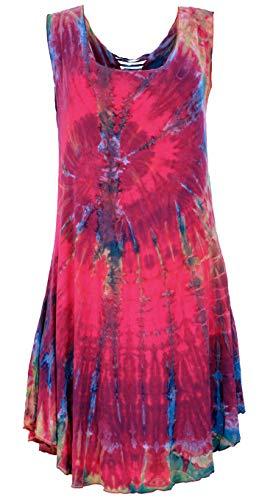 Guru-Shop Batik Minikleid, Boho Batikkleid mit Raffiniertem Rücken, Damen, Himbeerrot, Synthetisch, Size:38, Kurze Kleider Alternative Bekleidung