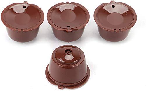 Trechter Capsules Herbruikbare Koffiecapsules Cups 4 stks BPA Gratis Koffiemachines Compatibele Filter Cups voor Thuis Keuken Kantoor Outdoor Gebruik (Bruin)
