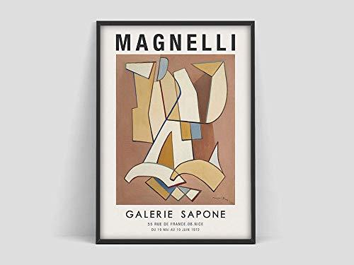 Cartel de Alberto Magnelli, cartel de la exposición de arte de Magnelli, artista de pintura italiana, exposición de arte, pintura en lienzo sin marco C 70x100cm