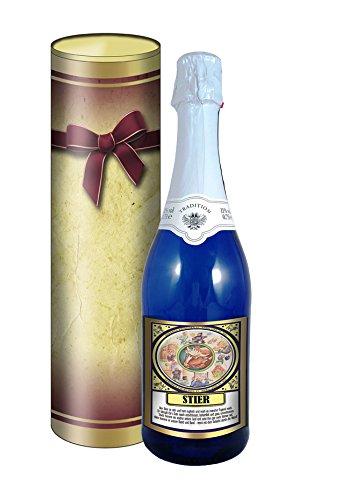 Sternzeichen Stier 0,75l Sekt (Mosel) blaue Flasche in der Geschenkdose im Schleifendesign